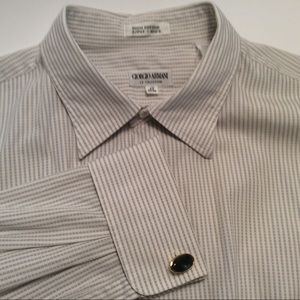 Giorgio Armani GrayStripeMenFrenchCuff DressShirt